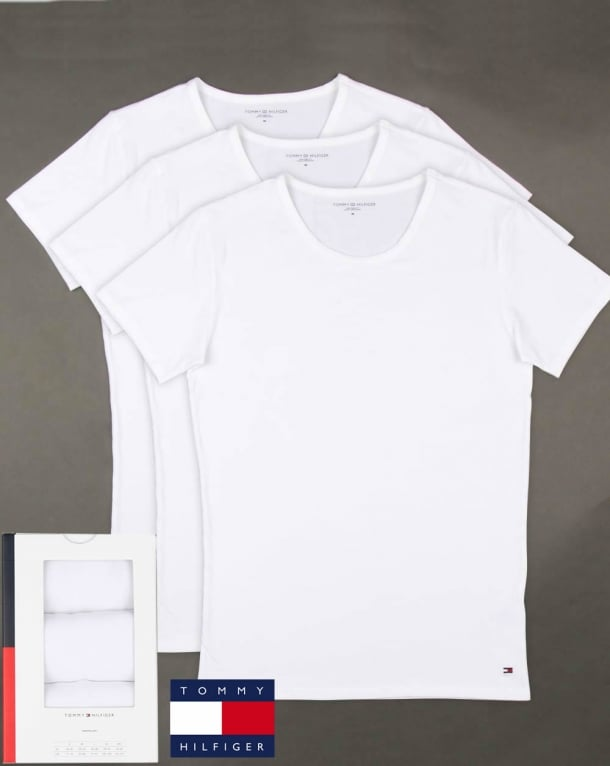 Tommy Hilfiger Premium Essentials 3 Pack T Shirts White