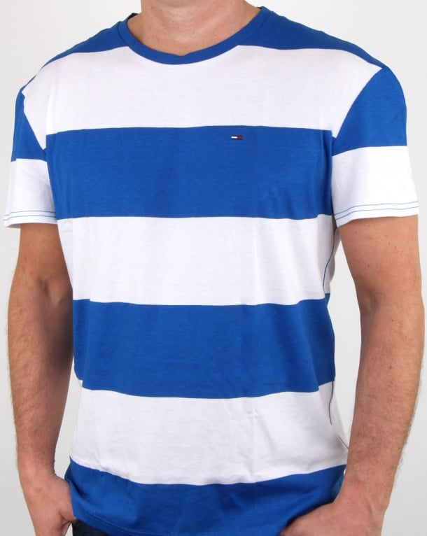 Tommy Hilfiger Race Stripe T Shirt Blue And White Mens Tee
