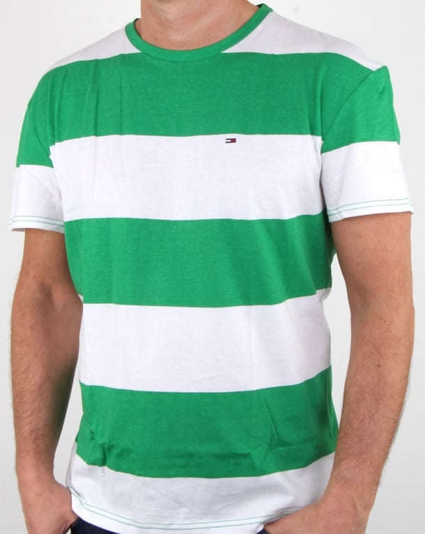 Tommy Hilfiger Race Stripe T Shirt Jellybean Green and White