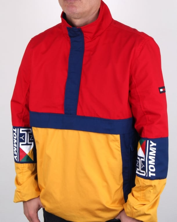 Tommy Hilfiger Retro Block Pullover Jacket Red Yellow Navy