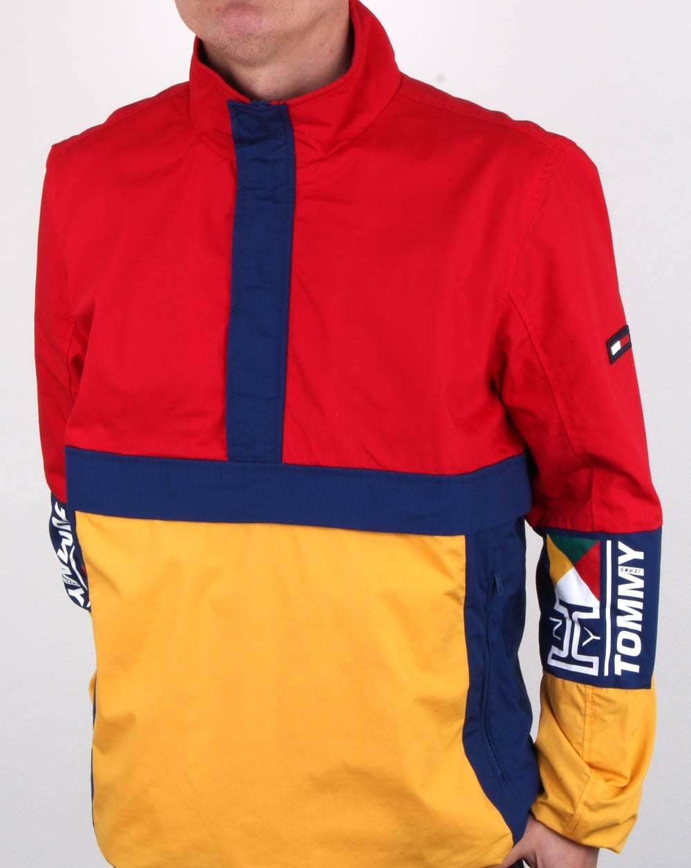 tommy hilfiger retro block pullover jacket red yellow navy mens rain. Black Bedroom Furniture Sets. Home Design Ideas