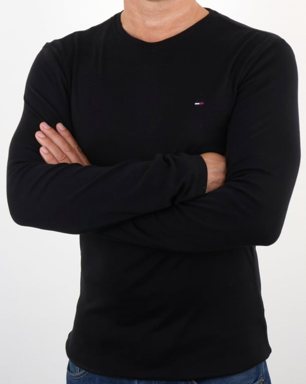 Tommy Hilfiger Rib Cotton Long Sleeve T Shirt Black