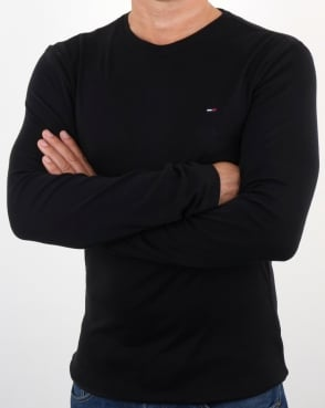 Tommy Jeans Tommy Hilfiger Rib Cotton Long Sleeve T Shirt Black