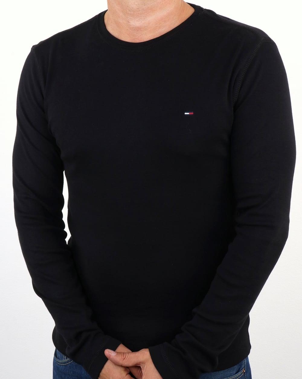 Tommy Hilfiger Rib Cotton Long Sleeve T Shirt Black,crew neck,mens e190f5feeb