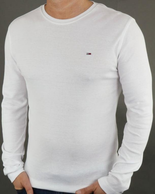 Tommy Hilfiger Rib Cotton Long Sleeve T Shirt White,crew neck,mens 4ce60768fd