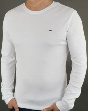 Tommy Jeans Tommy Hilfiger Rib Cotton Long Sleeve T Shirt White