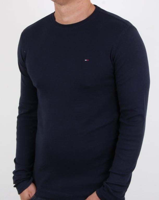Tommy Hilfiger Rib Cotton Ls T Shirt Navy, crew, neck, mens bb5b3e1c10