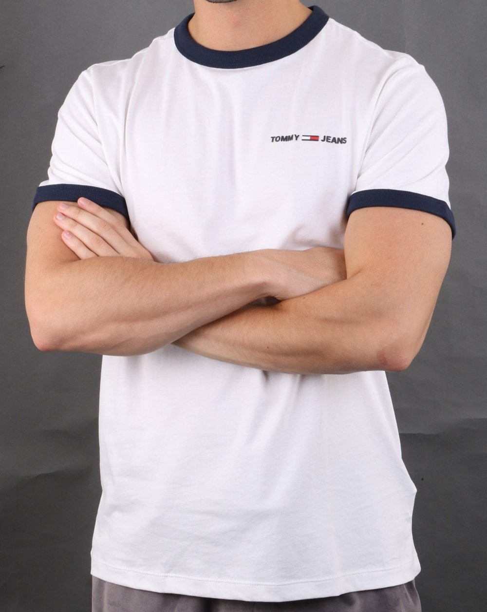 Tommy Hilfiger Ringer T-Shirt in White /& Navy short sleeve crew tee