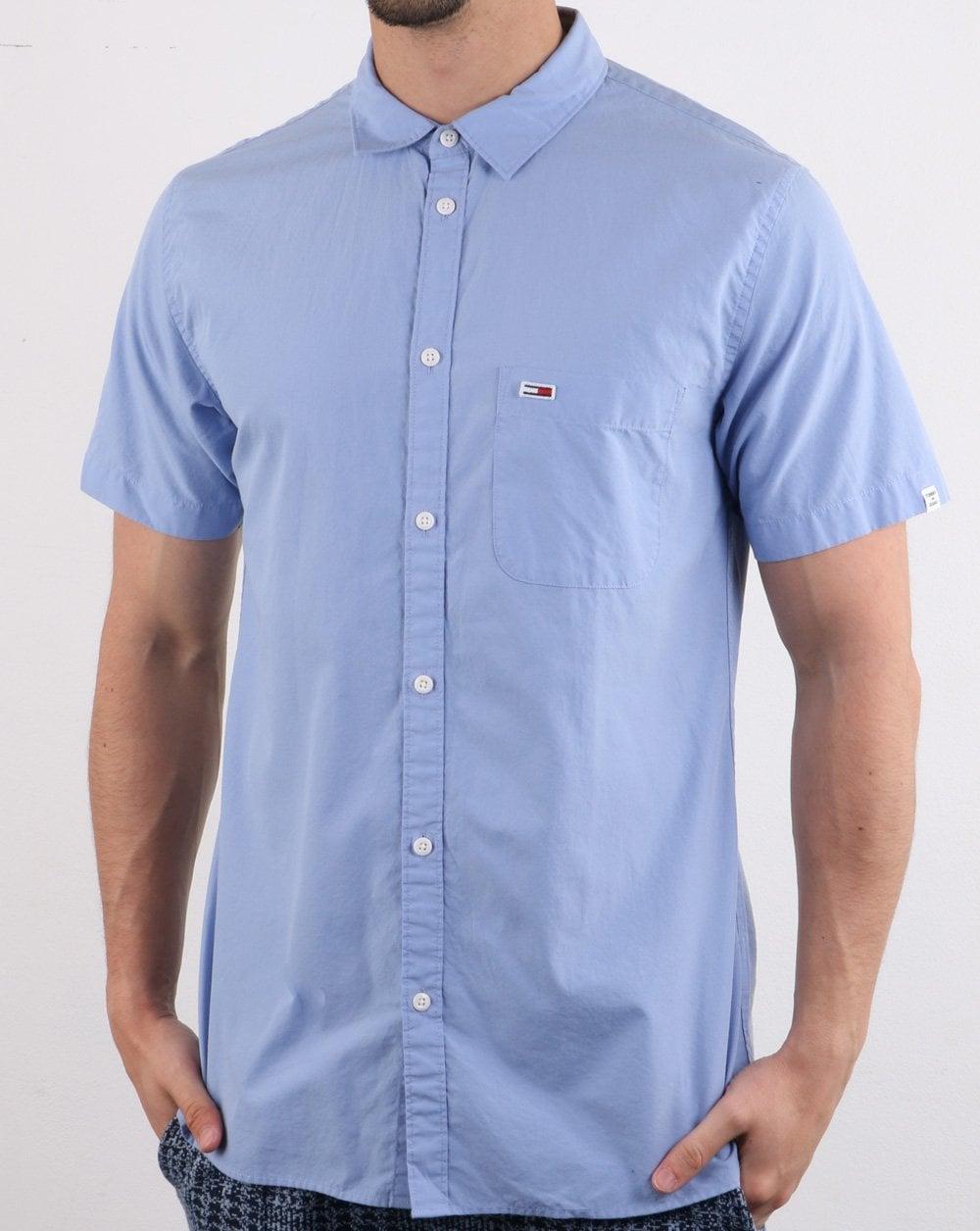 c6c48f16e Tommy Hilfiger Jeans Tommy Hilfiger Short Sleeve Poplin Shirt Sky Blue