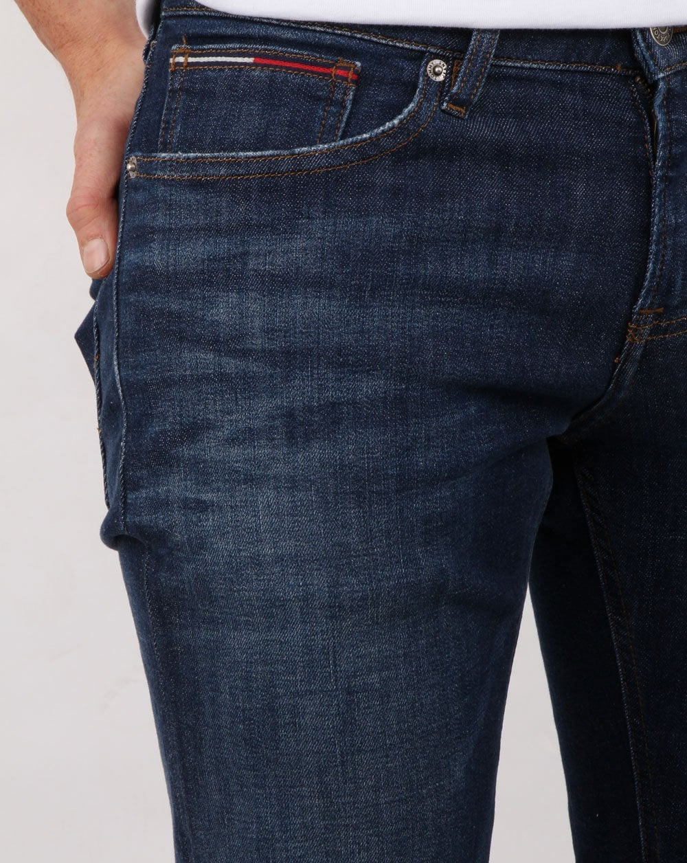 82085a318 Tommy Hilfiger, Slim Scanton Stretch, Dark Blue Jean | 80s casual