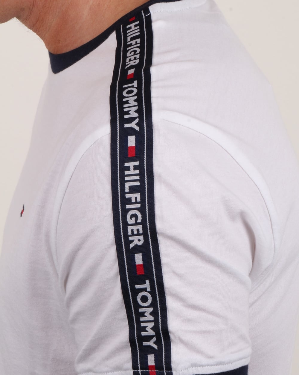 f1d494a64 Tommy Hilfiger Taping Ringer T Shirt White   80s casual classics
