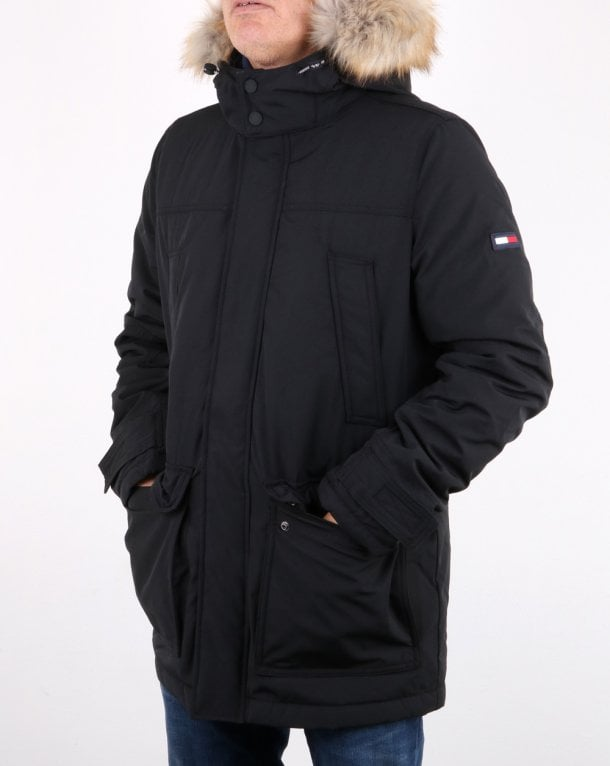 39999079 Tommy Hilfiger Technical Parka Tommy Black   80s casual classics