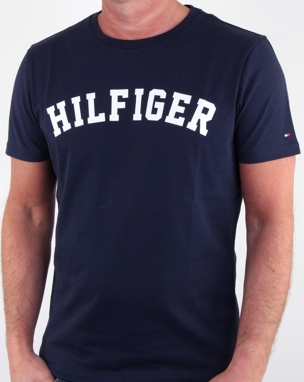 86a4639c Tommy Hilfiger Text Logo T Shirt Navy | 80s casual classics