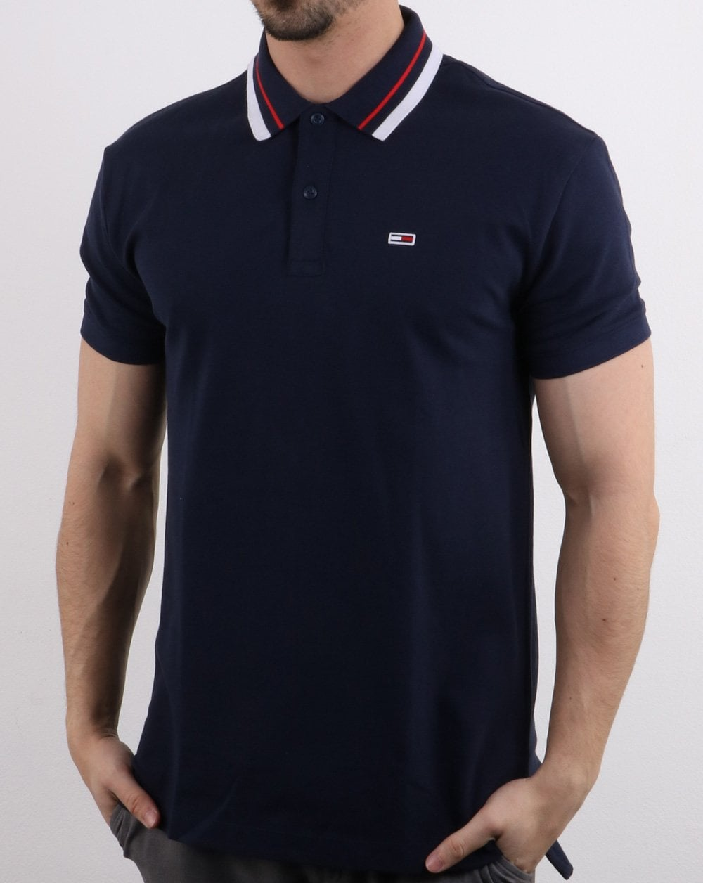 b89f6db0 Tommy Hilfiger Tipped Polo Shirt in Navy   80s Casual Classics
