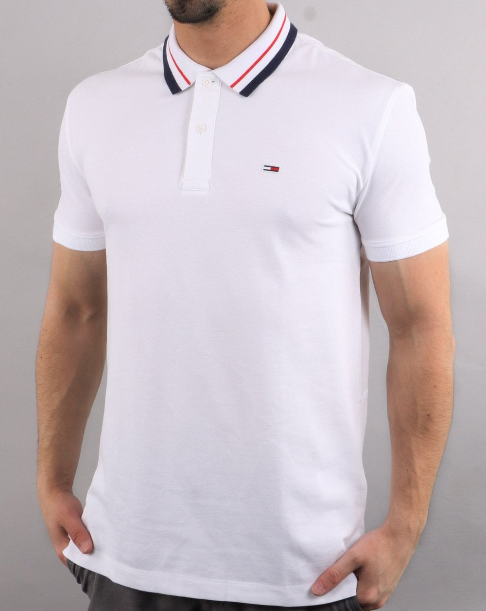 987ee4341ad2 Tommy Hilfiger Tipped Polo Shirt in White | 80s Casual Classics