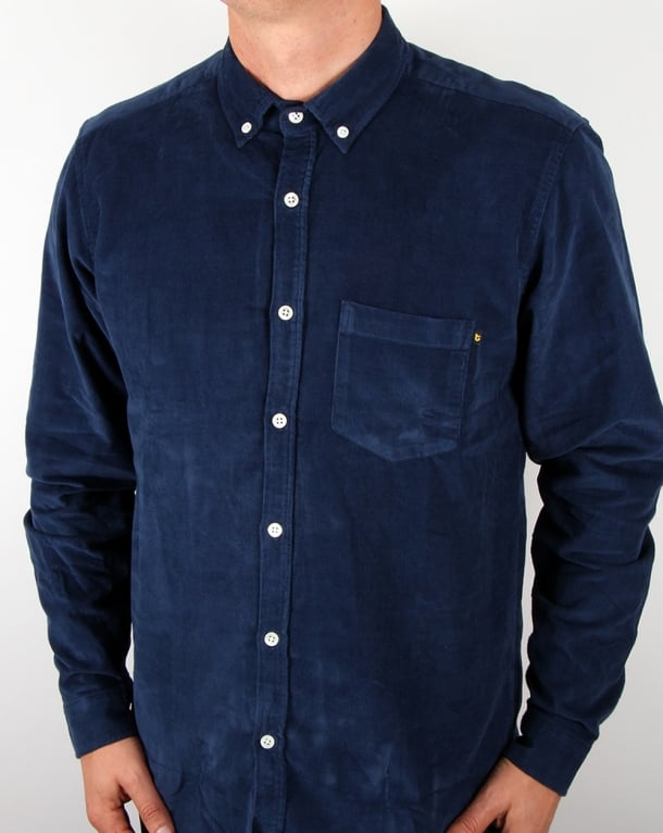 TukTuk Agnew Needle Cord Shirt Navy
