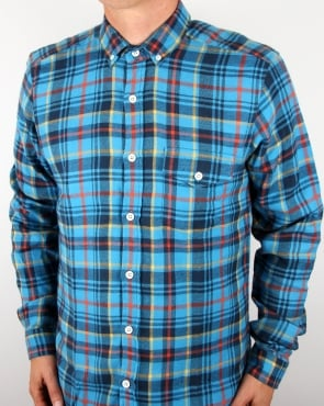 Tuktuk Larry Flannel Check Shirt Blue