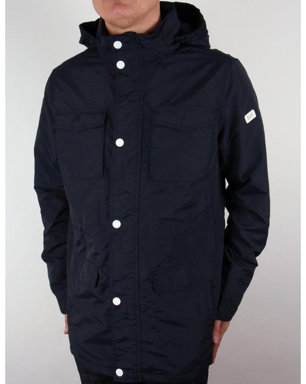 bf97d1289e01 Weekend Offender Akron Jacket Navy Blue,coat,hooded,mac,terrace jacket