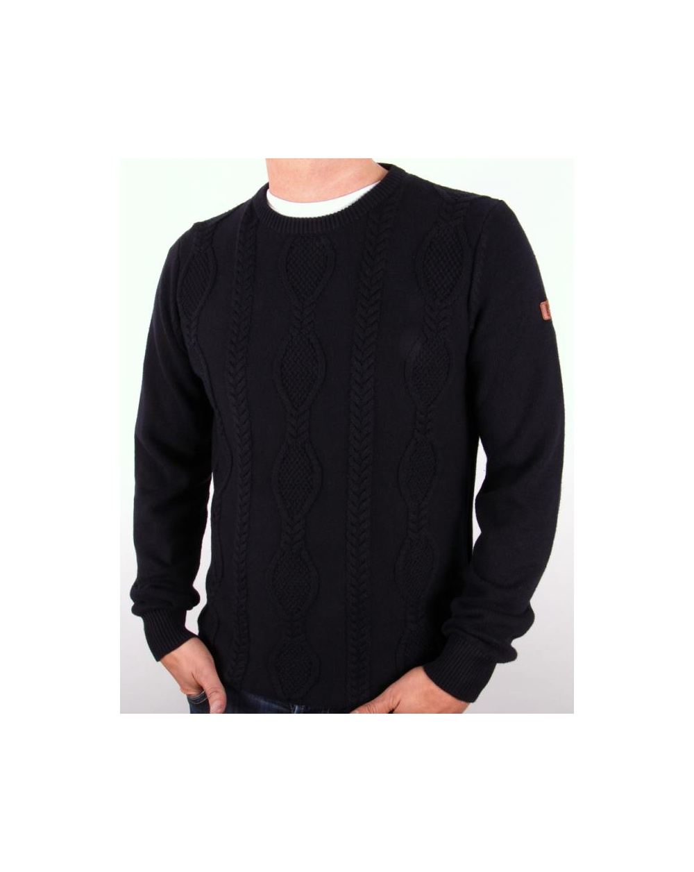 Weekend Offender Bam Cable Knit Jumper Navy