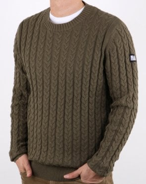 Weekend Offender Cable Jumper Khaki