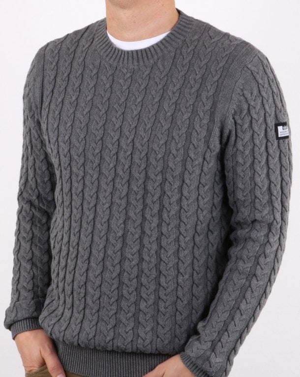 Weekend Offender Cable Jumper Steel Grey