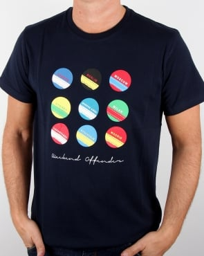 Weekend Offender Circles And Stripes T Shirt Navy
