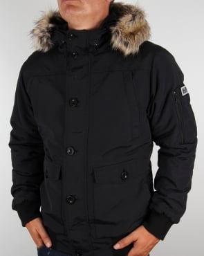Weekend Offender Fur Bomber Jacket Black