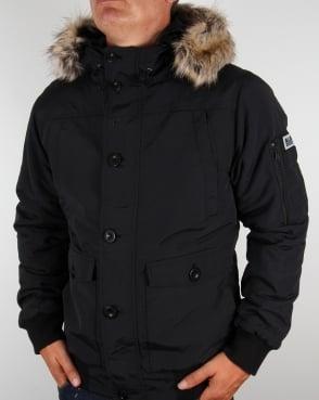 Weekend Offender Fur Bomber Jacket Black
