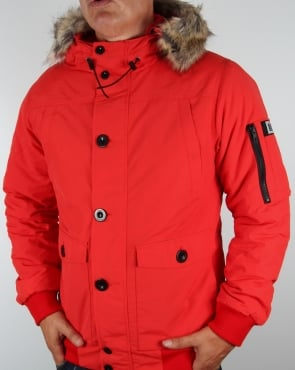 Weekend Offender Fur Bomber Jacket Red
