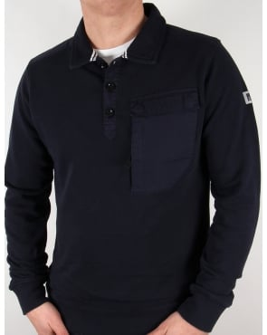 Weekend Offender Niko Collared Sweat Navy