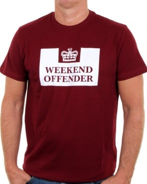 Weekend Offender Prison T Shirt Burgundy