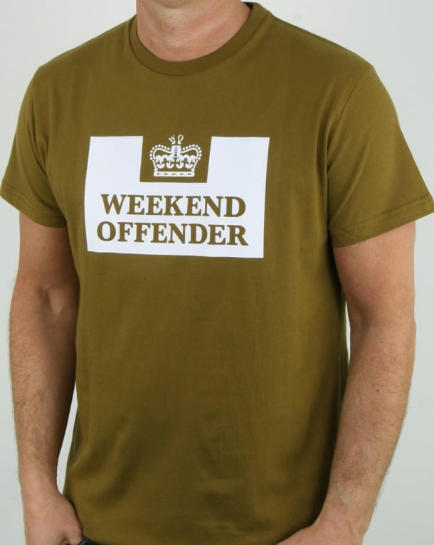 Weekend Offender Prison T Shirt Olive
