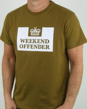 Weekend Offender Prison T Shirt Olive