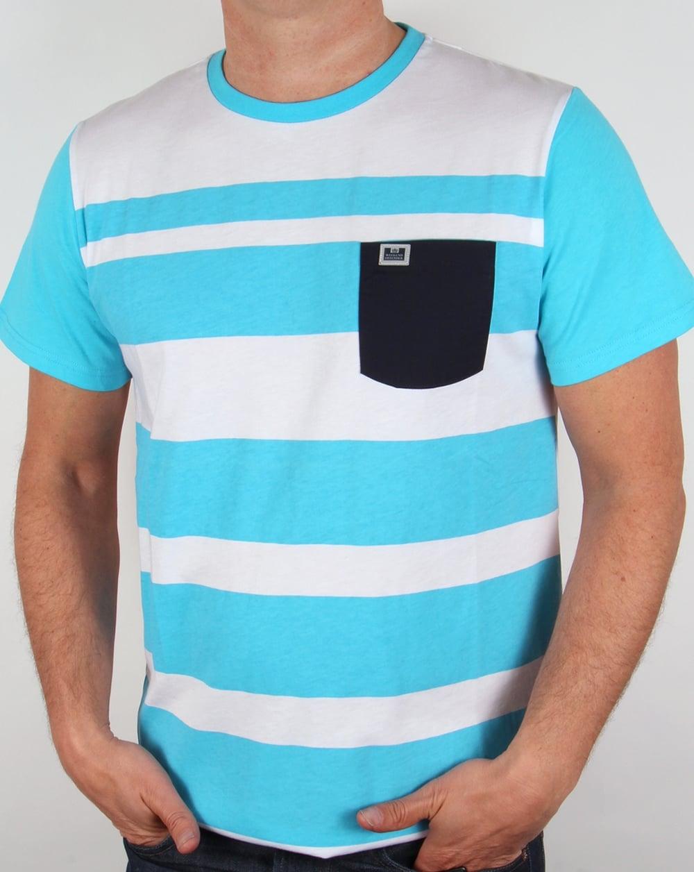 Weekend offender quintessence t shirt ocean blue white tee for Ocean blue t shirt