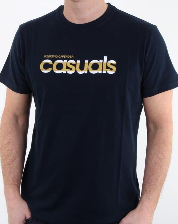 Weekend Offender Terrace Casuals T Shirt Navy