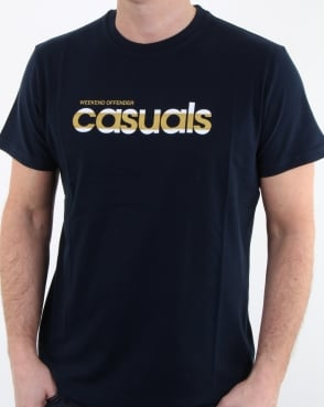 Weekend Offender Terrace Casuals T Shirt Navy