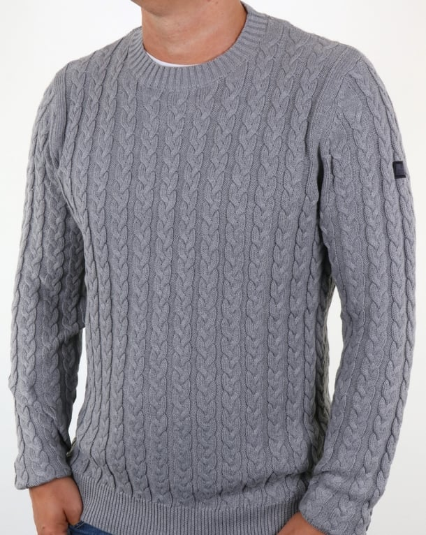 Weekend Offender Woods Cable Knit Jumper Grey Marl
