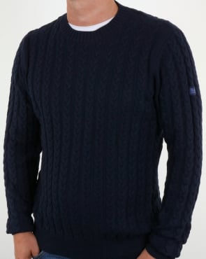 Weekend Offender Woods Cable Knit Jumper Navy