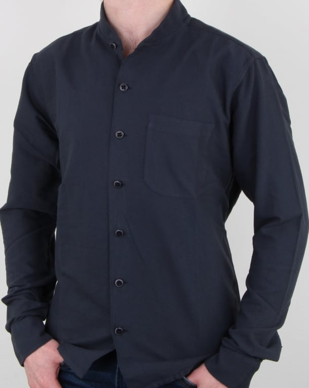 Ymc Rib Collar Shirt Navy