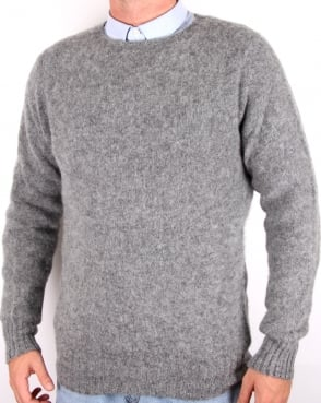Ymc Suedehead Brushed Knit Jumper Grey
